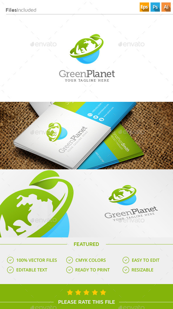GraphicRiver Green Planet Logo 11445443