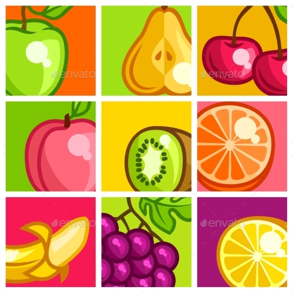 GraphicRiver Background Design With Stylized Fresh Ripe Fruits 11445474