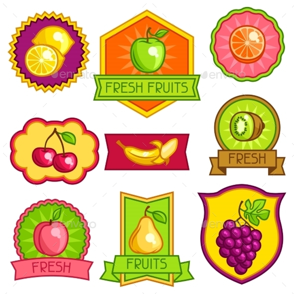 GraphicRiver Set of Badges and Labels with Fruit 11445478