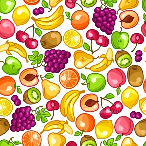 GraphicRiver Seamless Pattern With Stylized Fresh Ripe Fruits 11445512