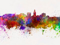 Lincoln skyline in watercolor background - PhotoDune Item for Sale