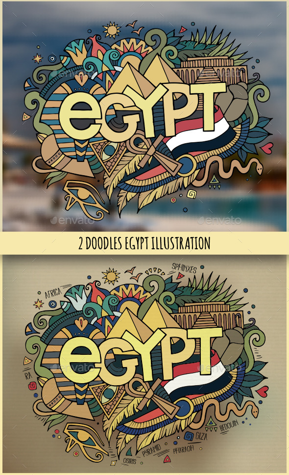 GraphicRiver Egypt Doodles Illustrations 11445535