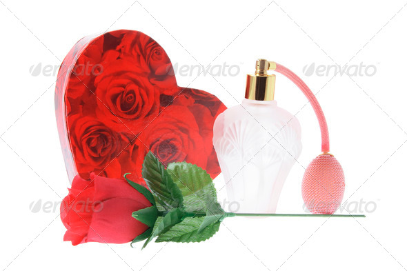 Perfume Bottle and Gift Box - Stock Photo - Images