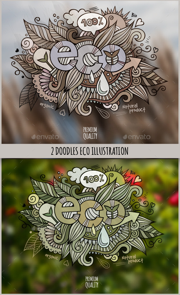 GraphicRiver 2 Eco Doodles Designs 11445713