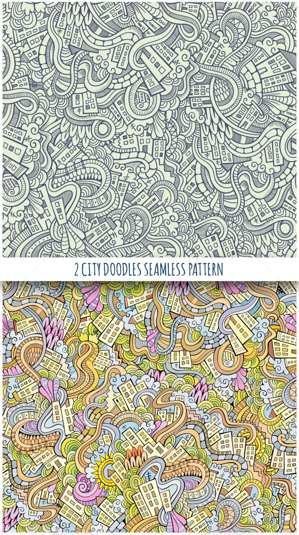 GraphicRiver 2 Doodles Houses Seamless Pattern 11445738