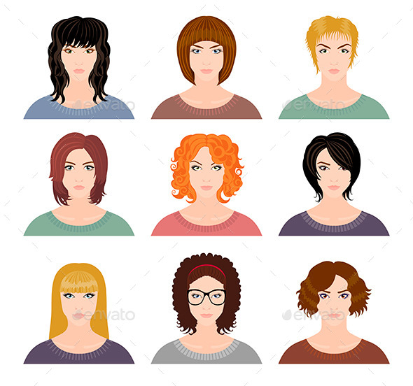 GraphicRiver Nine Avatars of Girls 11445743