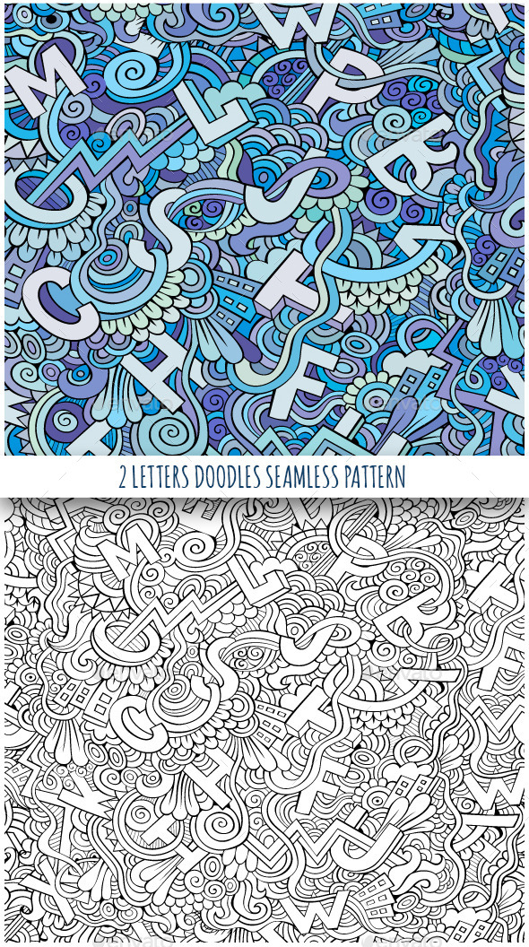 GraphicRiver 2 Doodles Letters Seamless Pattern 11445775
