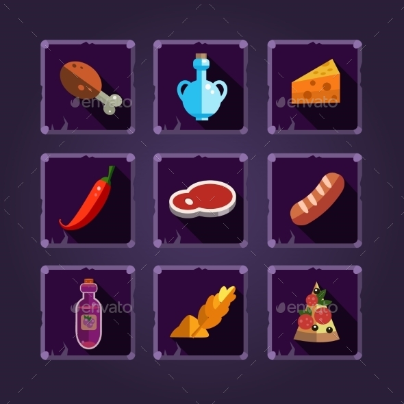 GraphicRiver Resource Icons For Games Food And Potions 11445809