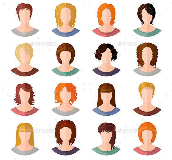 GraphicRiver Avatars of Girls 11445815