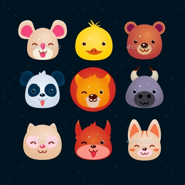 GraphicRiver Vector Illustration Of Animal Faces 11445819