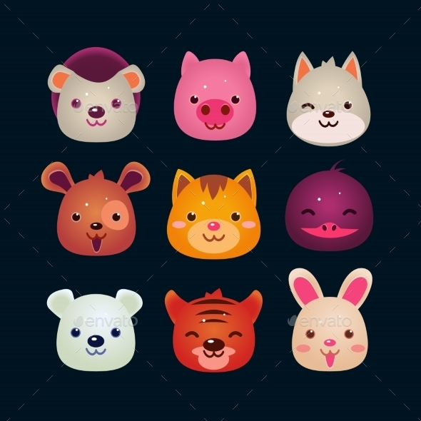 GraphicRiver Vector Illustration Of Animal Faces 11445821