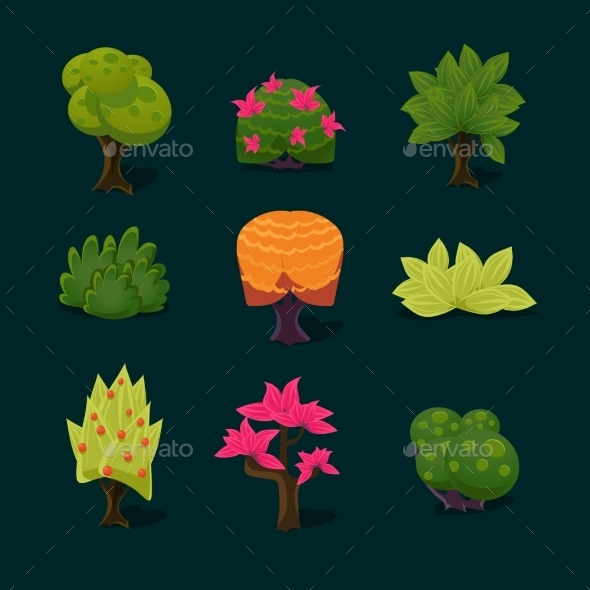 GraphicRiver Illustration Isolated Set Of Cartoon Tree 11445846