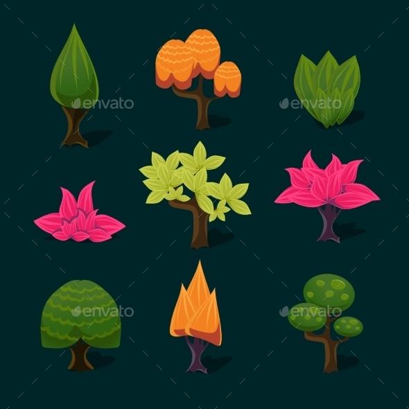 GraphicRiver Set of Cartoon Trees 11445864