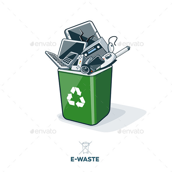 GraphicRiver E-Waste in Recycling Bin 11446140