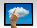 Holding and pointing to Cloud screen