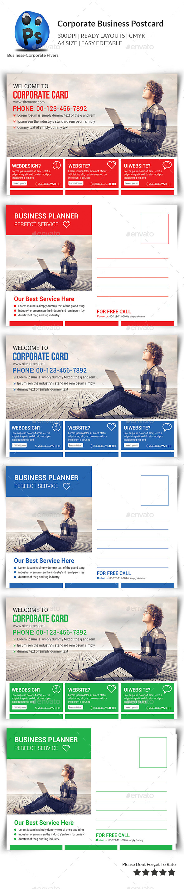 GraphicRiver Corporate Business Postcards 11446470