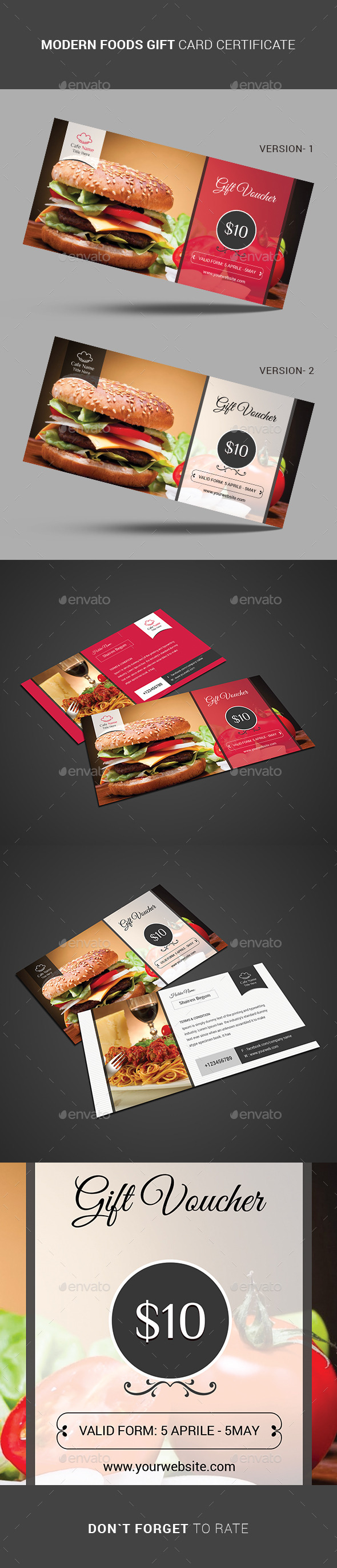 GraphicRiver Modern FOODS Gift Card Certificate 11446583