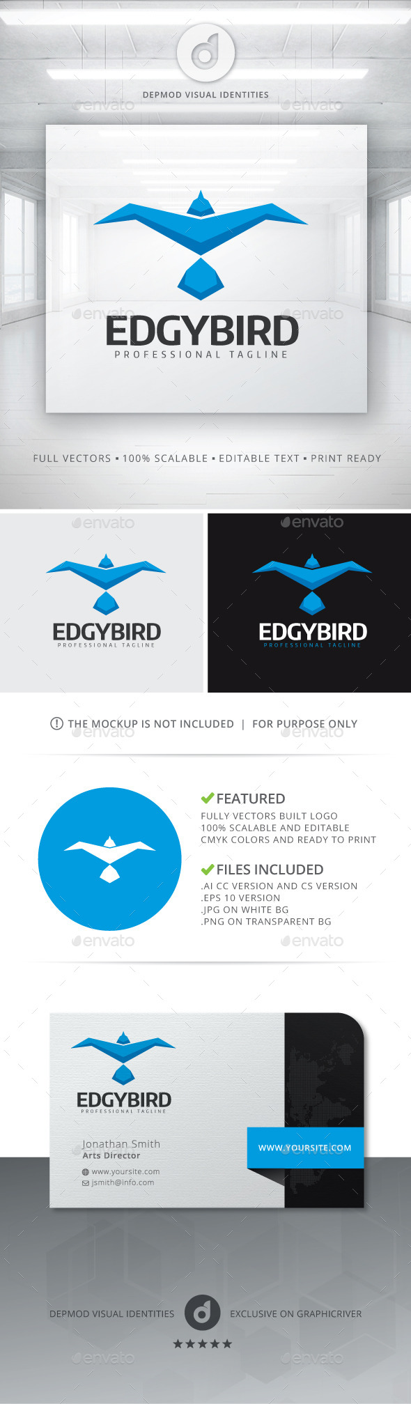 GraphicRiver Edgy Bird Logo 11446988