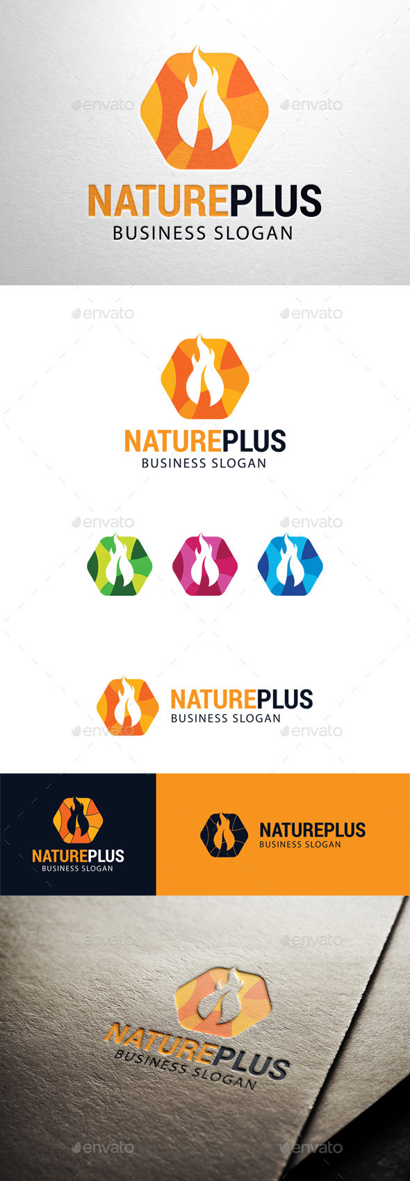 GraphicRiver Nature Plus Leaf Fire Logo 11447203