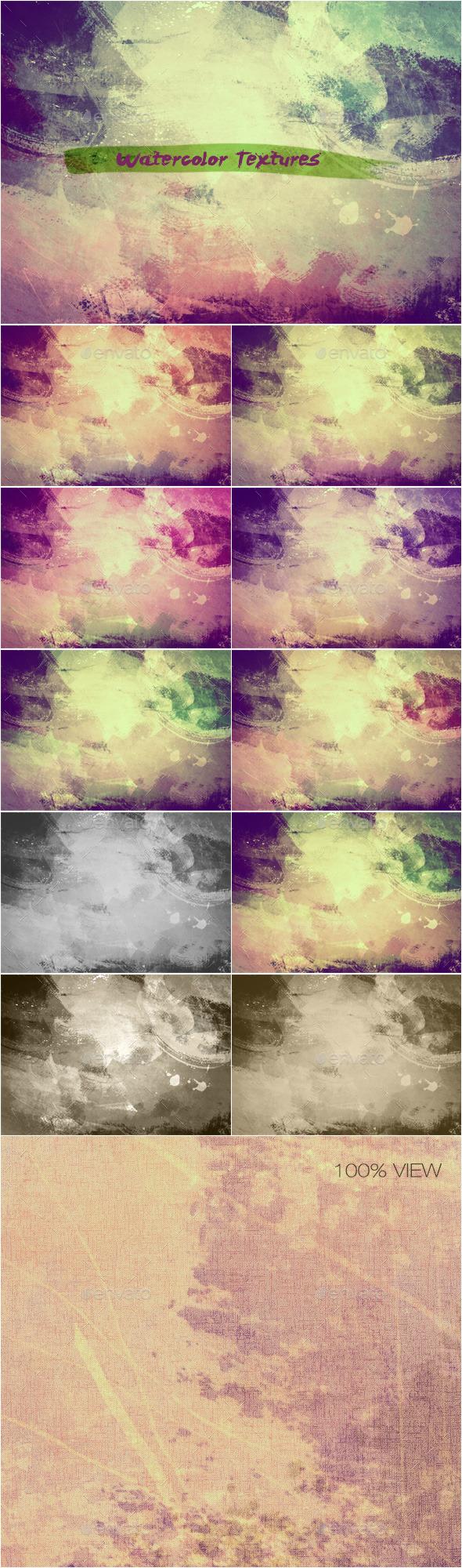 GraphicRiver Watercolor Textures Set 6 11447216