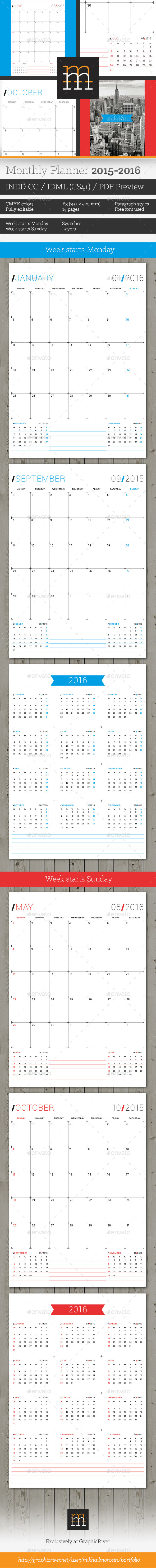 GraphicRiver Monthly Planner 2015-2016 11448421