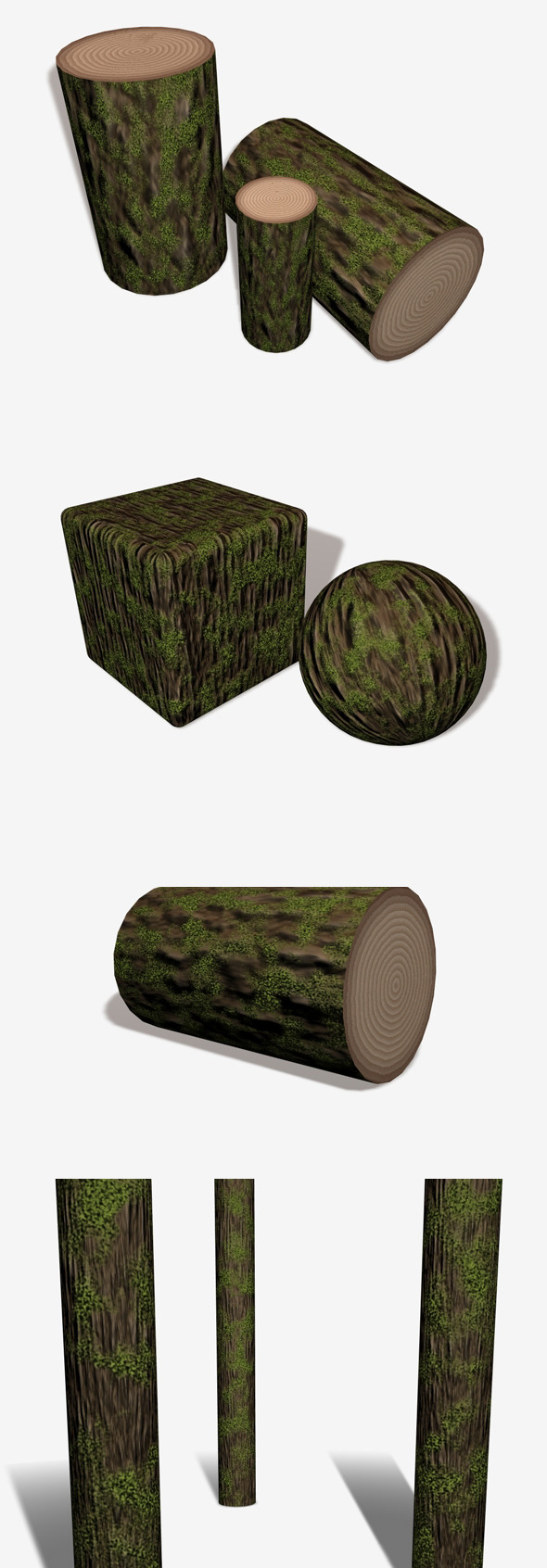Mossy Bark with Chopped Log Rings - 3DOcean Item for Sale