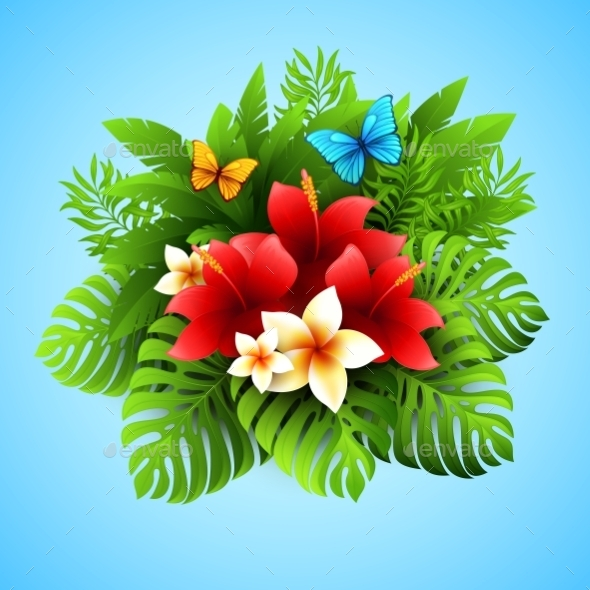 GraphicRiver Illustration with Tropical Plants 11448738