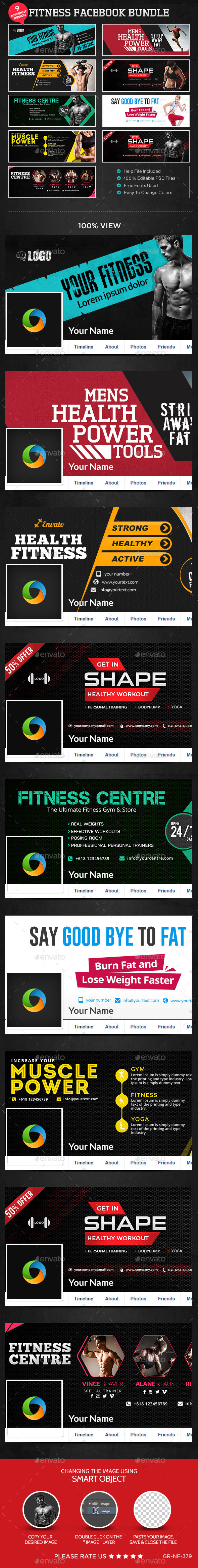 GraphicRiver Fitness FB Bundle 9 Designs 11448803