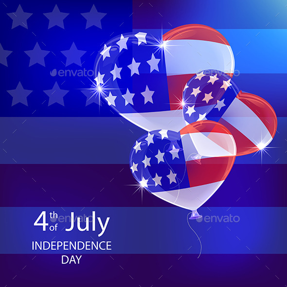 GraphicRiver Independence Day Background with Balloons 11449003