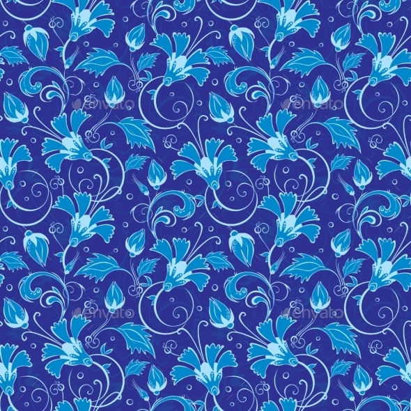 GraphicRiver Dark Blue Turkish Floral Seamless Pattern 11449293