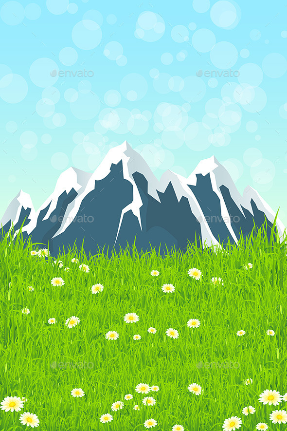 GraphicRiver Green Landscape with Mountains 11449634
