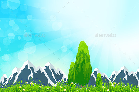 GraphicRiver Green Landscape with Mountains 11449635