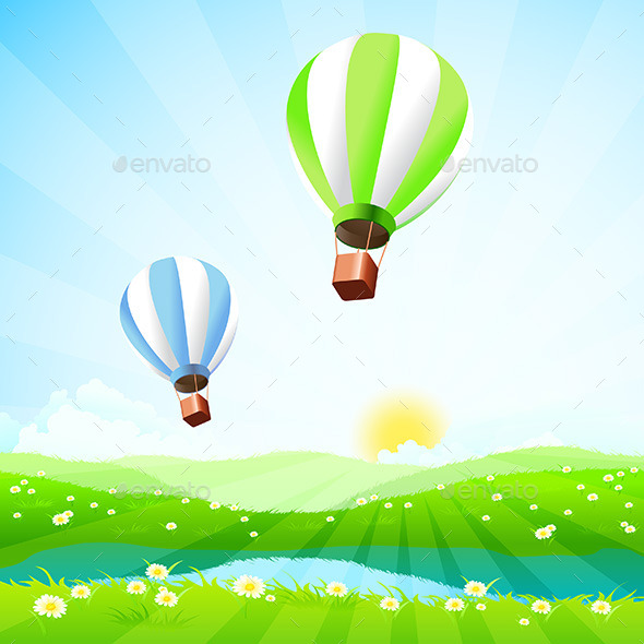 GraphicRiver Green Landscape with Hot Air Balloons 11449640