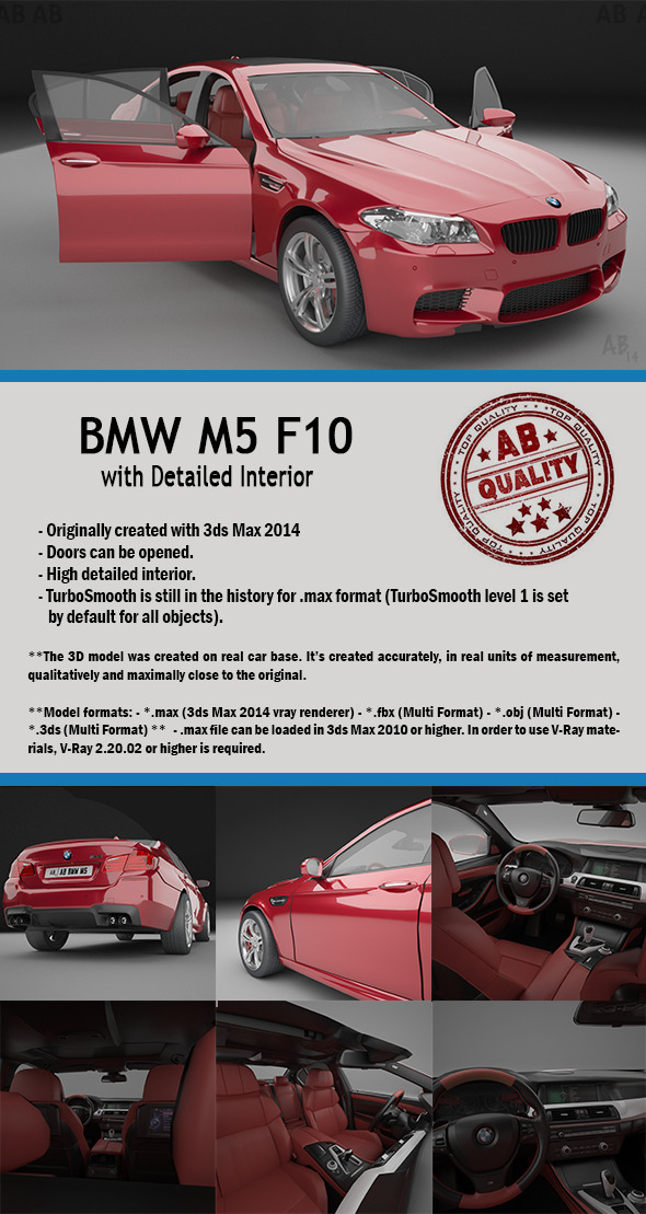BMW F10 M5 (with Detailed Interior) Vray - 3DOcean Item for Sale