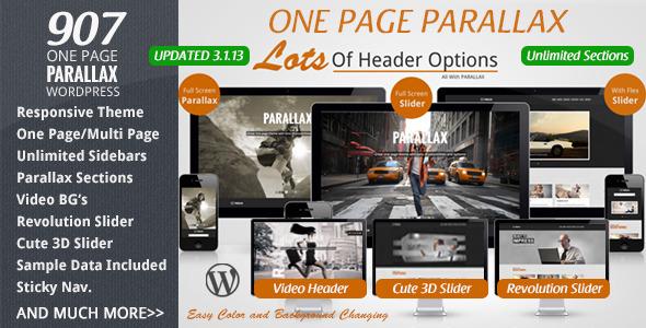 907 - Responsive WP One Page Parallax - Portfolio Creative