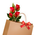 Holiday Background With Paper Shopping Bag with Bouquet Of Red Roses.  - PhotoDune Item for Sale