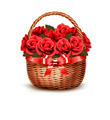 Holiday Background With Basket Full Of Red Roses.  - PhotoDune Item for Sale