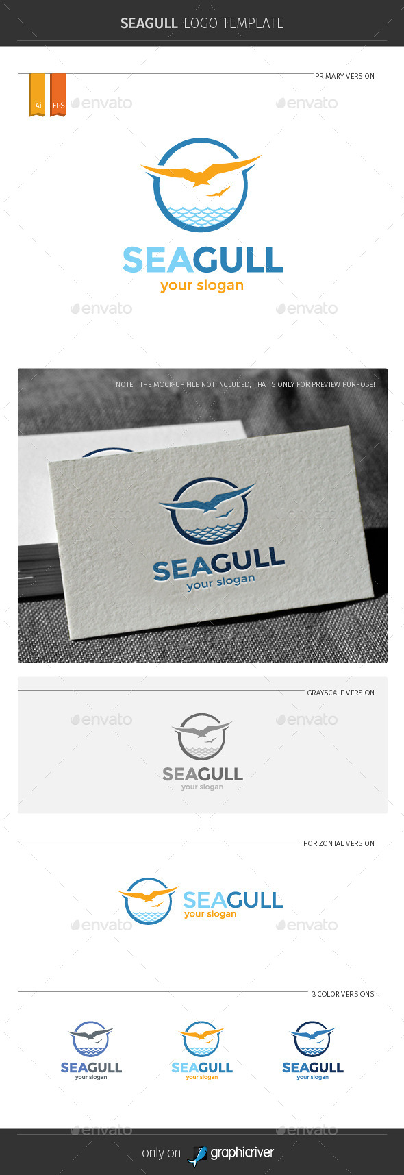 GraphicRiver Seagull Logo Template 11450512