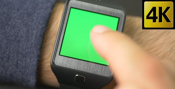 Smartwatch Green Screen Gestures Finger