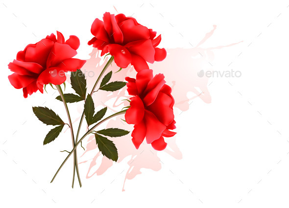 GraphicRiver Holiday Background With Three Red Roses 11450662