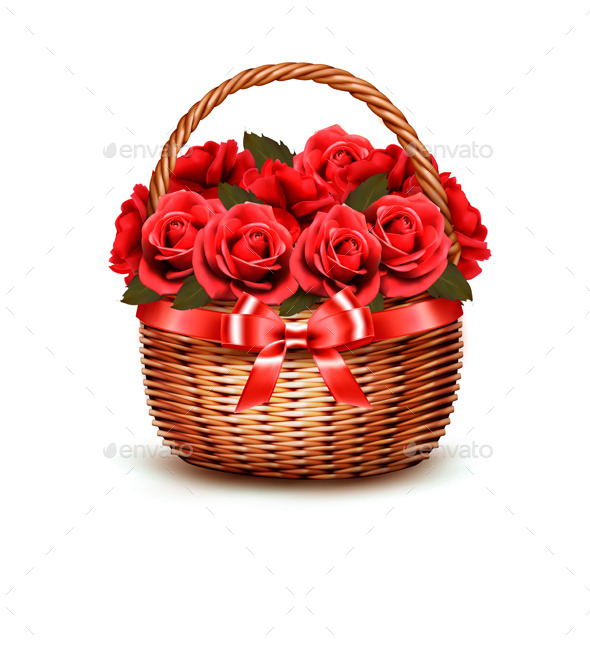 GraphicRiver Holiday Background With Basket Full Of Red Roses 11450675