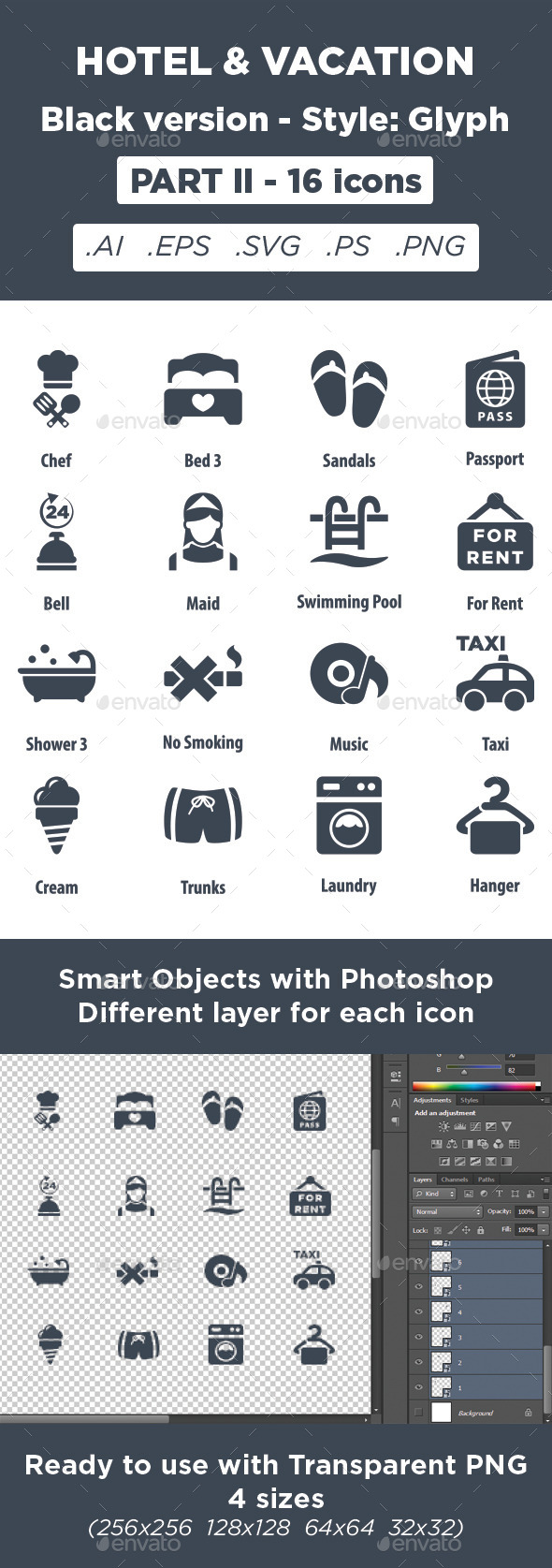 GraphicRiver Hotel & Vacation Icons Glyph style Part 2 11450688