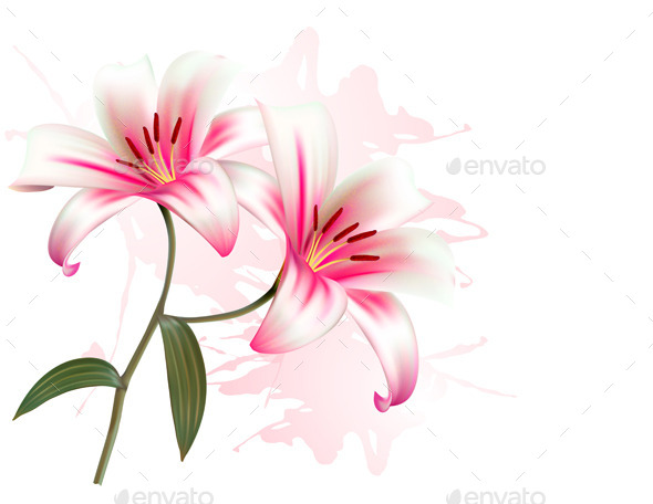 GraphicRiver Flower Background With Two Lilies 11450690