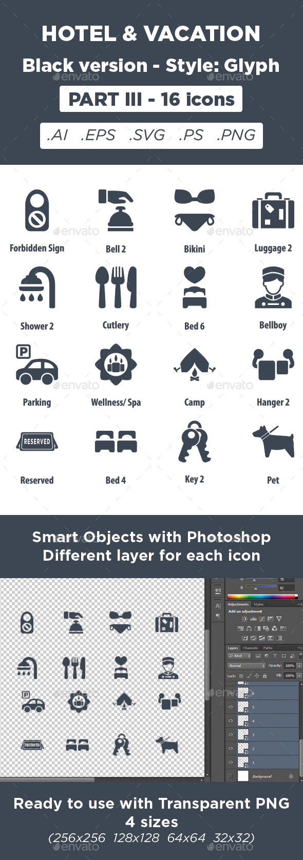 GraphicRiver Hotel & Vacation Icons Glyph style Part 3 11450692