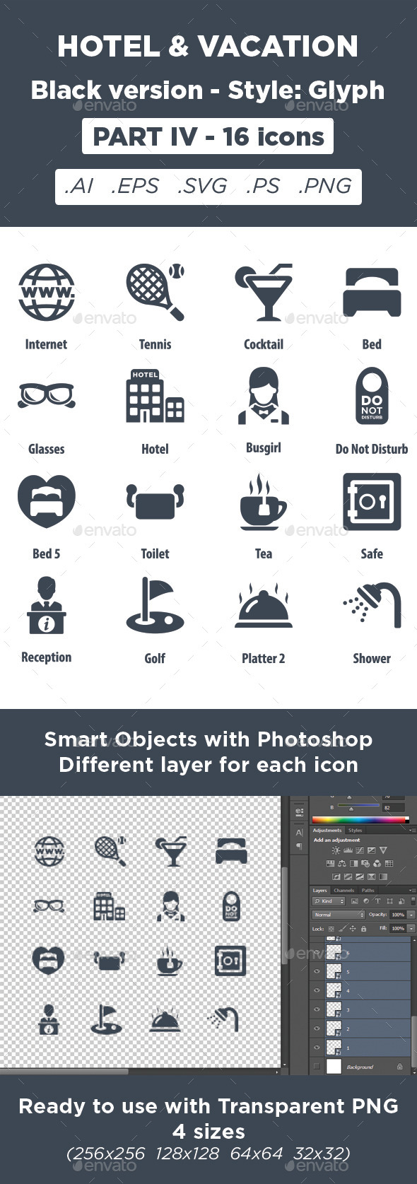 GraphicRiver Hotel & Vacation Icons Glyph style Part 4 11450696