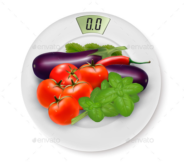 GraphicRiver Scale With Vegetables Concept of Diet 11450700