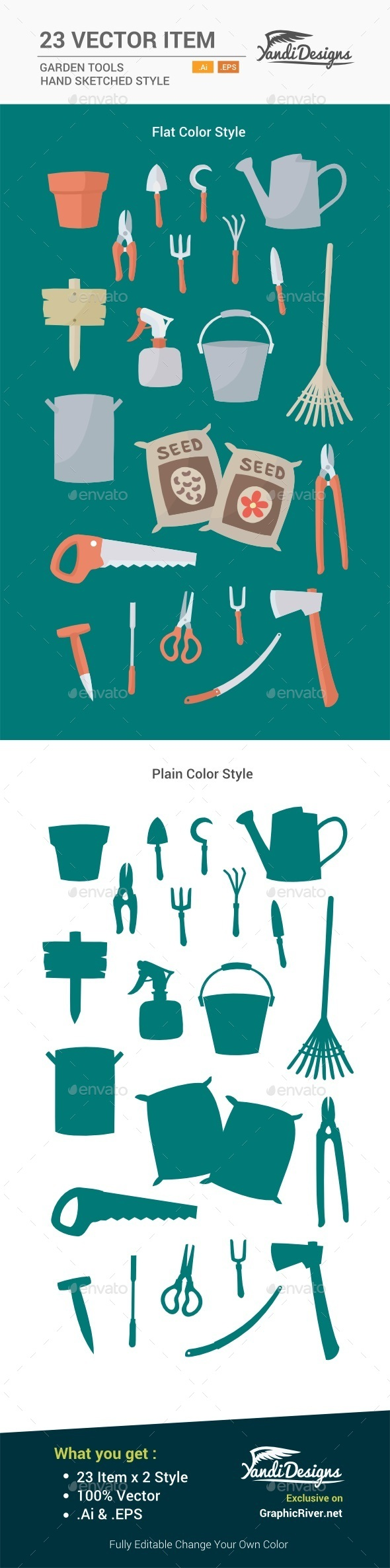GraphicRiver Garden Tools Flat Designs 11450859