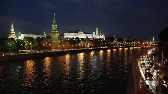 Moscow Kremlin And Ship On River At Night Russia