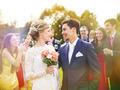 Newlyweds at wedding reception