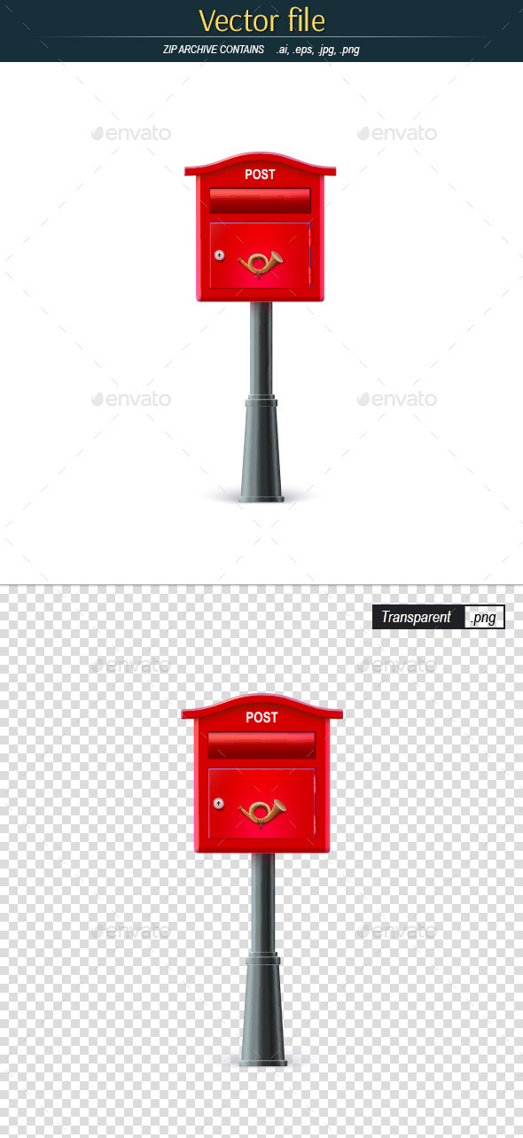 GraphicRiver Classic Mailbox on a Black Pole 11451005